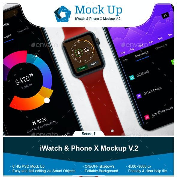 iWatch & Phone X Mockup V.2