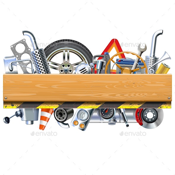 Vector Car Parts with Wooden Board - Industries Business