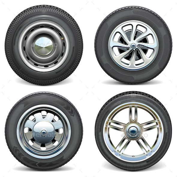 Vector Car Tires with Retro and Modern Disks - Industries Business
