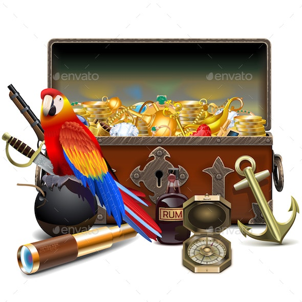 Vector Old Pirate Chest with Treasures - Travel Conceptual