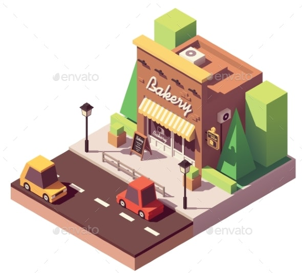 Vector Isometric Bakery Shop - Buildings Objects