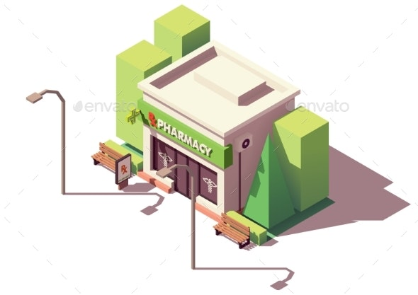 Vector Isometric Pharmacy or Drugstore - Buildings Objects