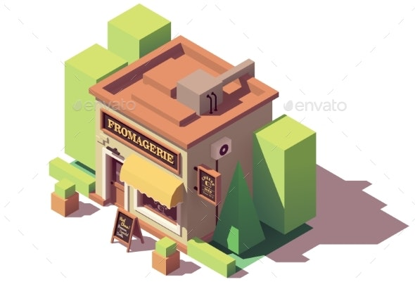 Vector Isometric Cheese Shop - Buildings Objects