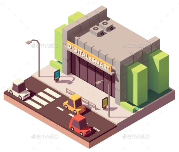 Vector Isometric Gadgets and Computer Store - Buildings Objects
