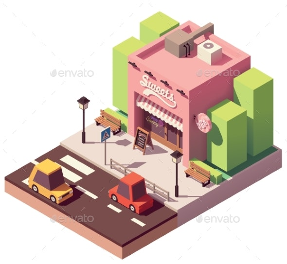 Vector Isometric Sweets Shop - Buildings Objects