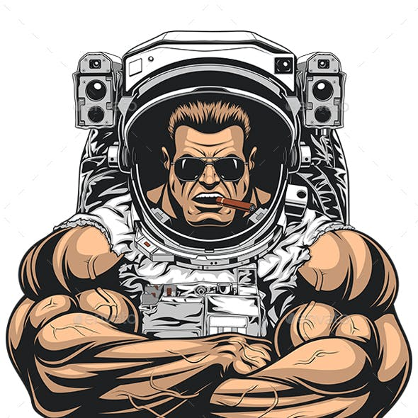Bodybuilder in an Astronaut Suit