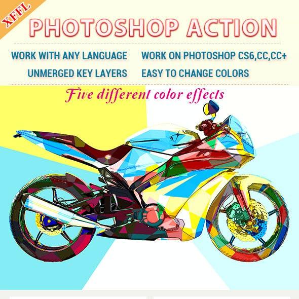 Color Block Effect Photoshop Action