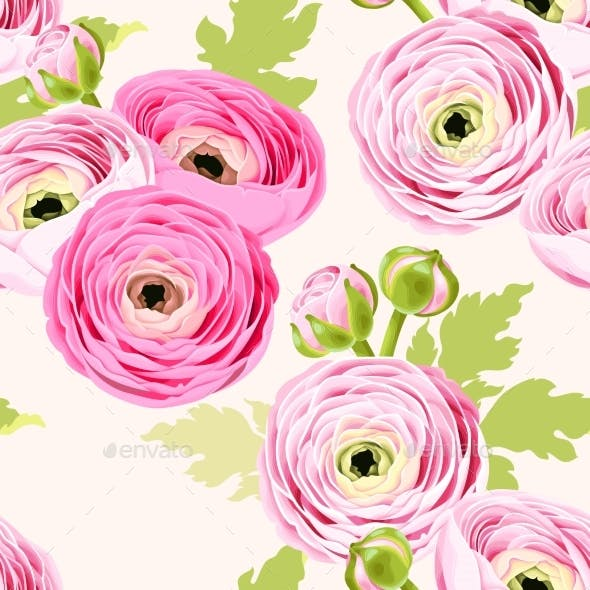 Seamless Pattern with Ranunculus