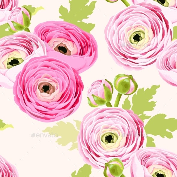Seamless Pattern with Ranunculus - Flowers & Plants Nature
