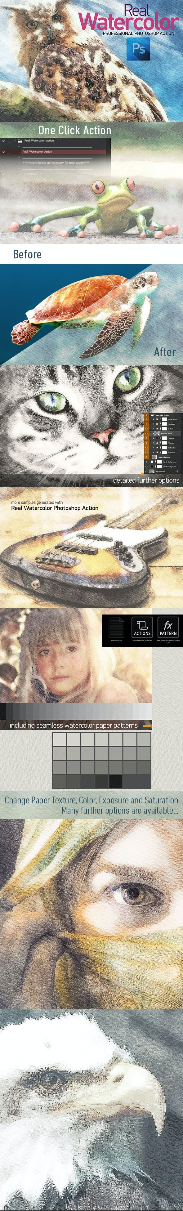 Real Watercolor - Photoshop Action - Photo Effects Actions