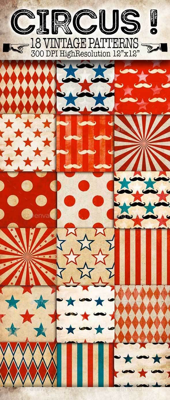 Circus! Vintage Patterns - Patterns Backgrounds