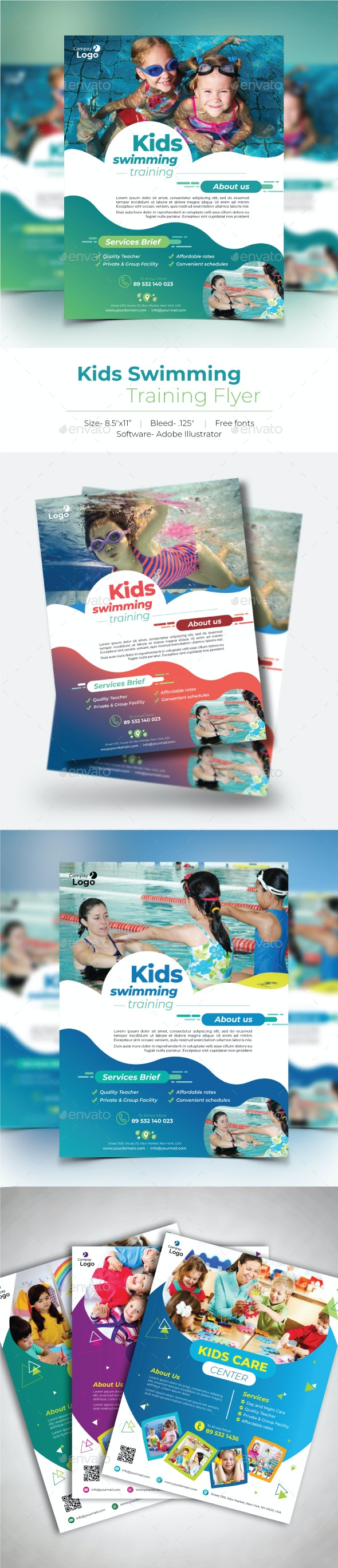 Kids Swimming Training Flyer - Flyers Print Templates