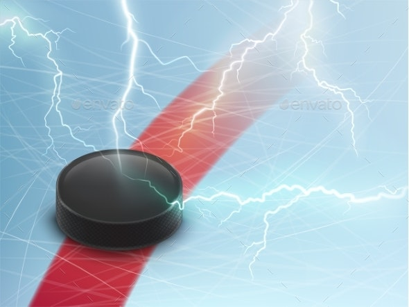 Ice Hockey Vector Banner with Puck and Lightnings - Sports/Activity Conceptual