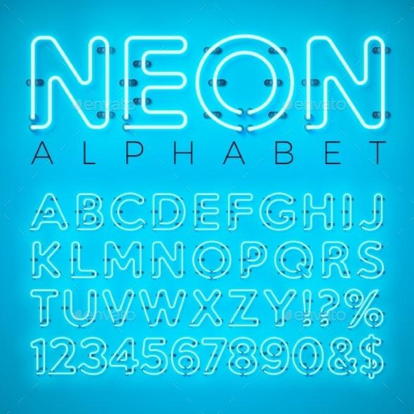 Bright Neon Alphabet on Blue Background - Valentines Seasons/Holidays