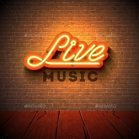 Live Music Neon Sign - Backgrounds Decorative