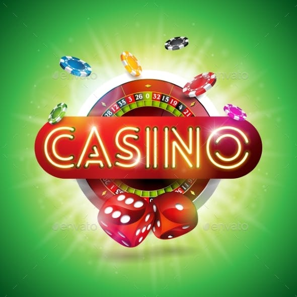Casino Illustration with Shiny Neon Light Letter