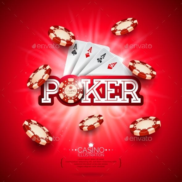 Casino Illustration with Poker Cards