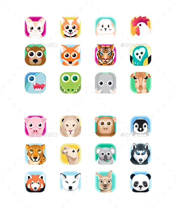 Animal App Icon Set - Animals Characters