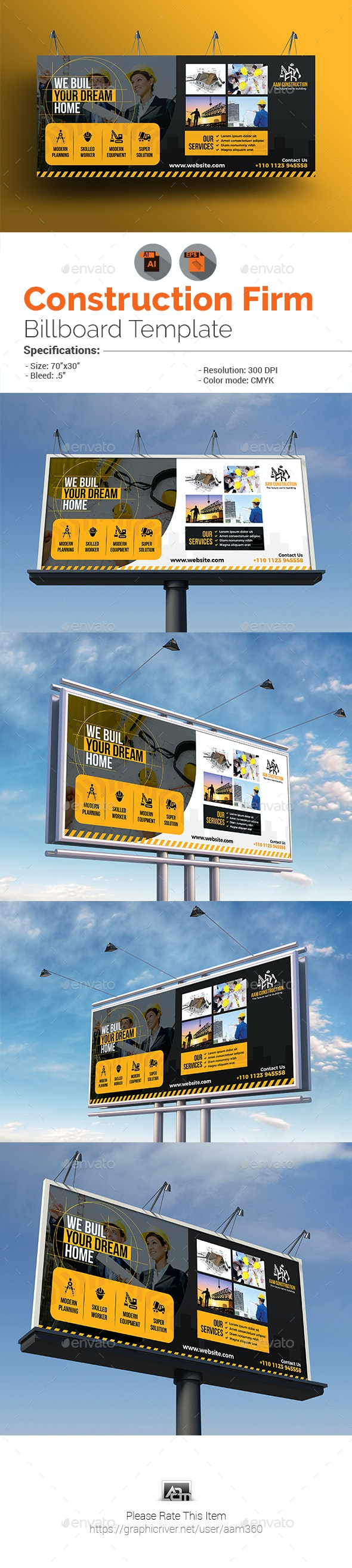 Construction Firm Billboard Template - Signage Print Templates
