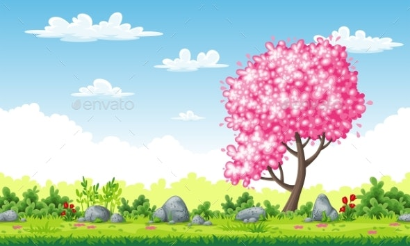 Spring Landscape with Tree - Flowers & Plants Nature