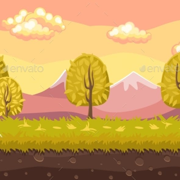 Cartoon Seamless Landscape Background