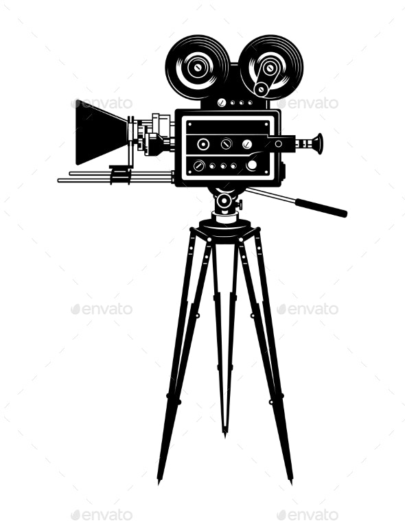 Cinema Movie Camera Side View Template - Miscellaneous Vectors