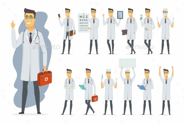 Doctor - Vector Cartoon People Character Set - Health/Medicine Conceptual