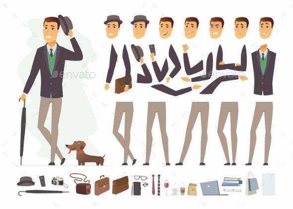 Stylish Man - Vector Cartoon People Character - People Characters