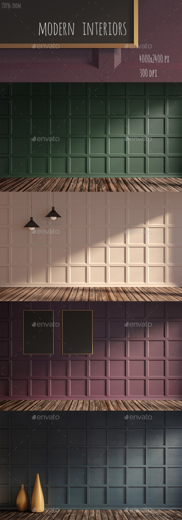 Gorgeous apartment with classic wall panel - 3D Backgrounds