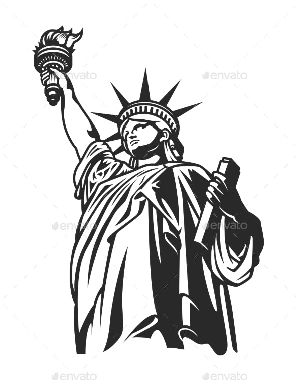 Monochrome American Statue of Liberty Concept - Miscellaneous Vectors