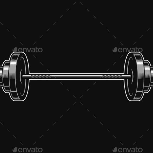 Vintage Metal Barbell Icon
