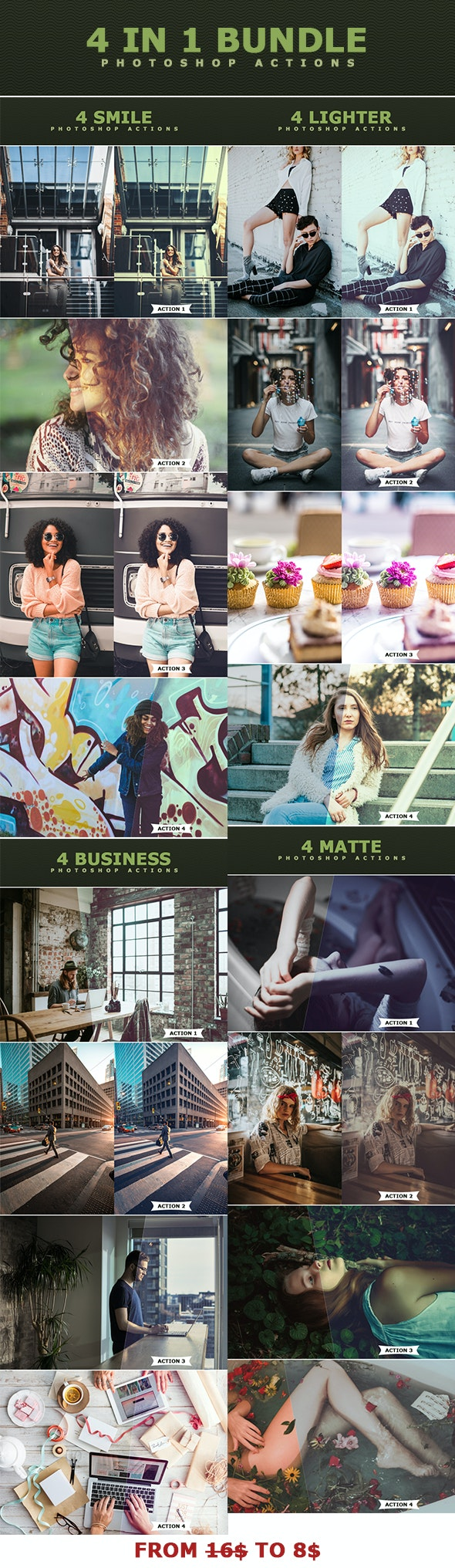 4 IN 1 Photoshop Actions Bundle MAY 2 - Photo Effects Actions