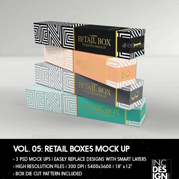 Retail Boxes Vol.5: Narrow Cosmetic or Perfume Box Packaging Mock Ups