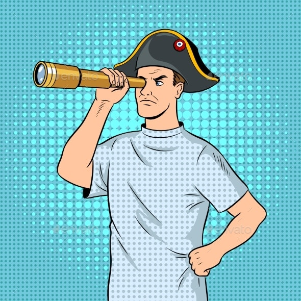 Mentally Ill Man As Pirate Napoleon Pop Art Vector - People Characters