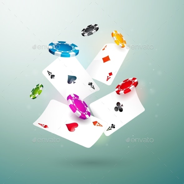 Realistic Falling Casino Chips and Poker Cards - Miscellaneous Vectors