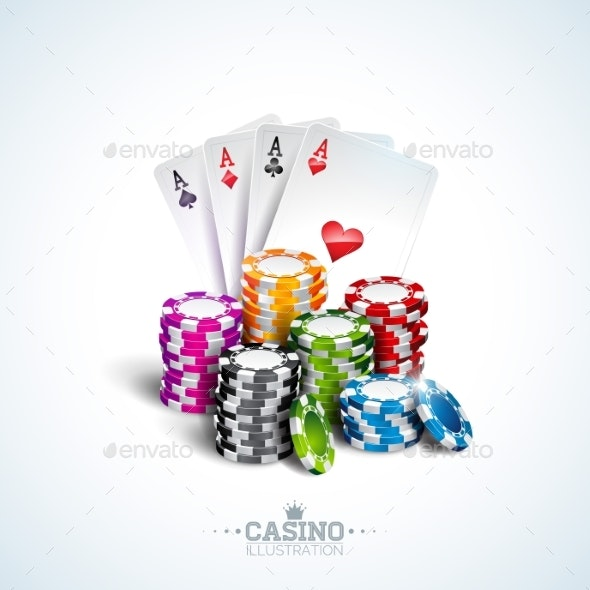 Vector Illustration on a Casino Theme with Poker - Miscellaneous Vectors