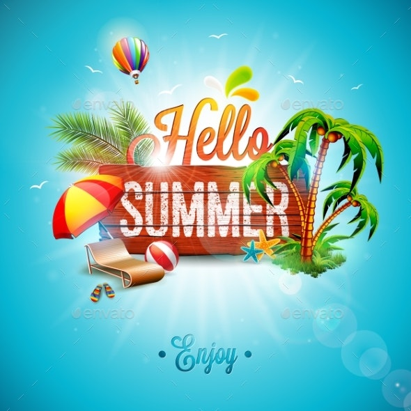 Vector Hello Summer Holiday Typographic - Backgrounds Decorative