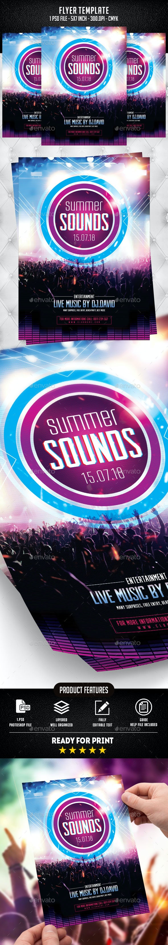 Summer Sounds Flyer Template - Flyers Print Templates