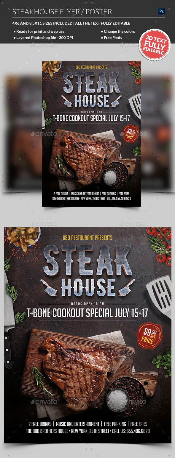 Steak House Flyer & Poster - Restaurant Flyers