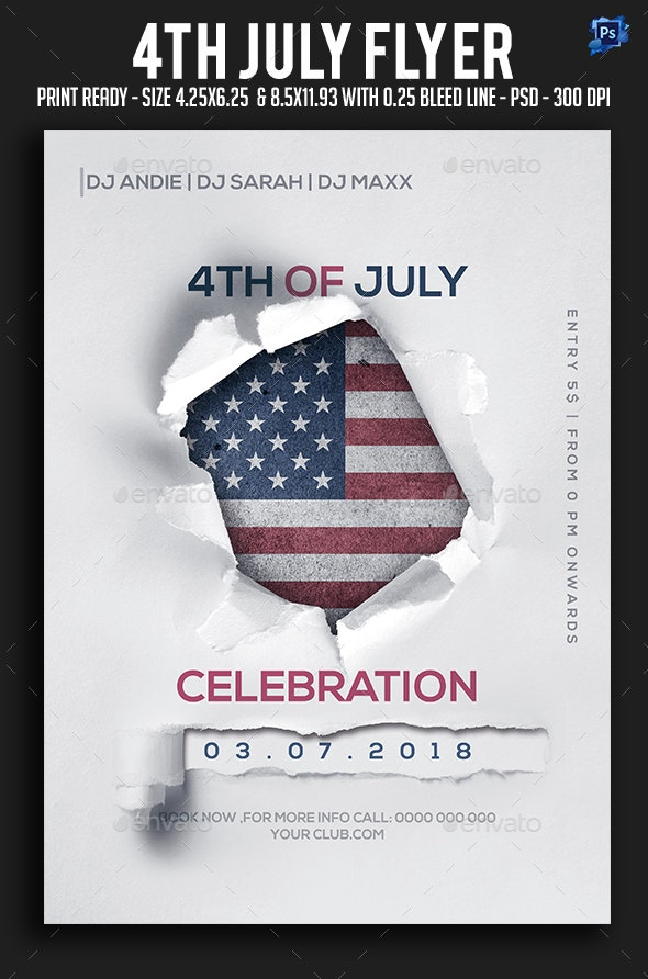 4th July Flyer - Clubs & Parties Events