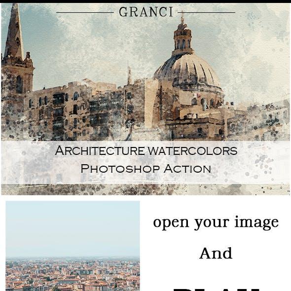 Architecture Watercolors Photoshop Action
