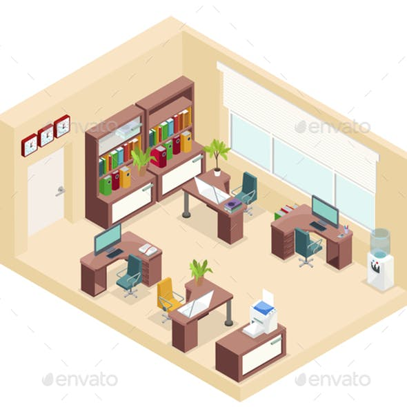Isometric Office Workplace Concept