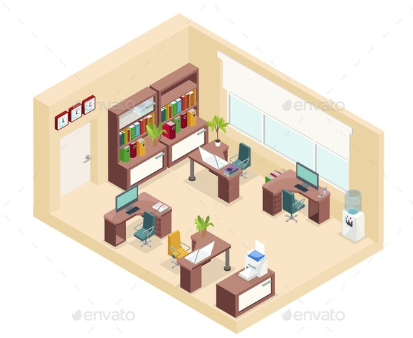 Isometric Office Workplace Concept - Concepts Business