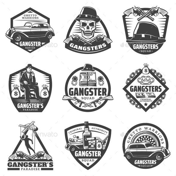 Vintage Gangster Labels Set - Decorative Symbols Decorative