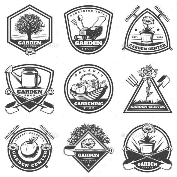 Vintage Monochrome Gardening Labels Set