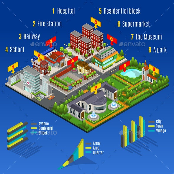 Isometric Modern City Infographic Concept - Buildings Objects