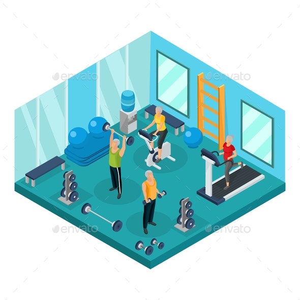 Isometric Pensioners in Gym Concept - Sports/Activity Conceptual