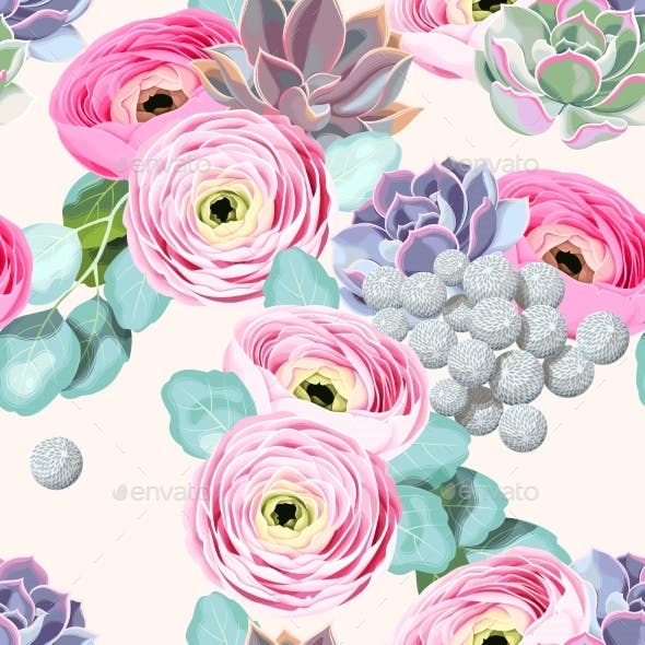 Seamless Flowers And Succulents Backgrounds Decorative