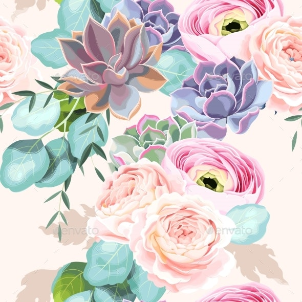 Seamless Flowers and Succulents - Backgrounds Decorative