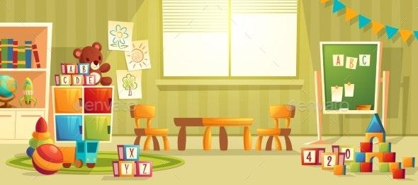 Vector Cartoon Interior of Kindergarten Room - Backgrounds Decorative